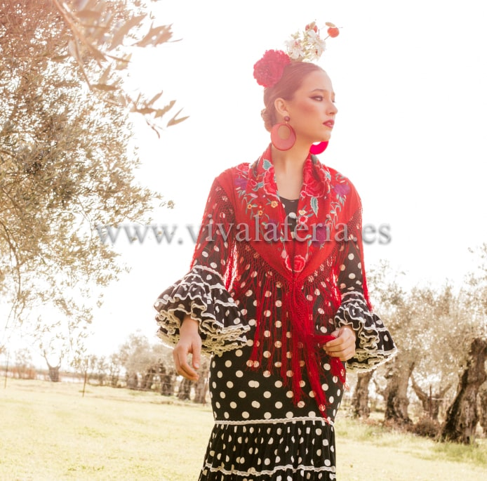 Mantón flamenco a juego estido verdiales de Maricruz
